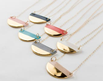 Half-Moon (1 inch) Shaped Necklace in 18K Gold Luster Overglaze on Ceramic Stoneware - Includes Chain - Multiple Color Options