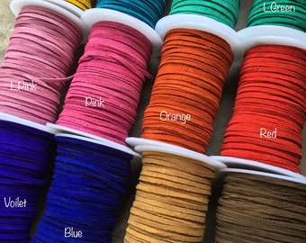 3mm Suede Lace, Choose Color of Suede lace, Suede Lace, Suede, Leather Lace, Suede Lace, Leather lace