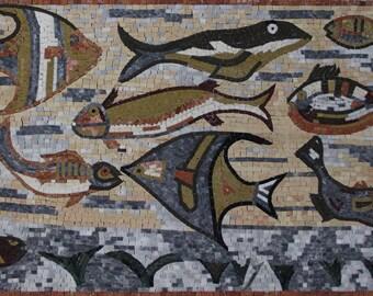 """Fish TANK Aquarium Colorful Home DECOR 46""""x28"""" Marble Mosaic AN1174"""