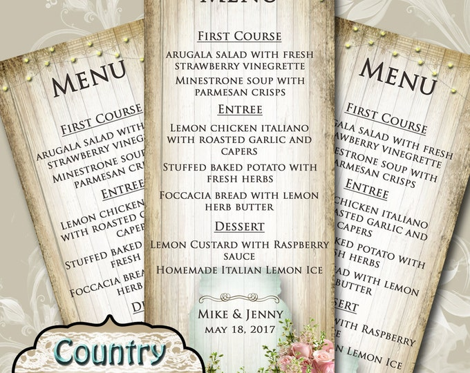 COUNTRY BLISS•Wedding Menu•Printable Digital Images•Weddings•Parties•Bridal Shower•Baby Shower•Birthday•Wedding Decorations
