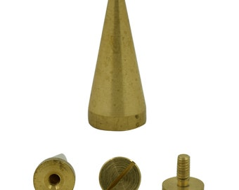 5 sets. Antique Gold Brass Cone Spikes Screw backs Studs Leather Craft 23 mm. CO 23 146