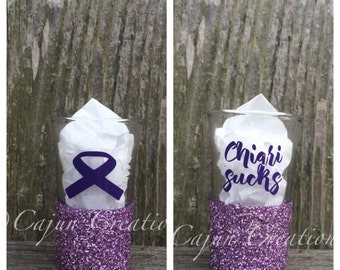 Chiari malformation shot glass, glitter shot glass, Chiari sucks on back, Purple chiari awareness ribbon on front, chiari gift.