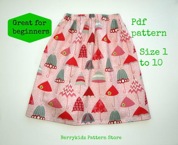 Girls skirt pattern pdf Twirl skirt pattern Toddler Pattern