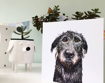 Wolfhound card, Irish Wolfhound, Wolfhound gift, Wolfhound present, Wolfhound love, Irish wolfhound, scottish deerhound, Wolfhound art,