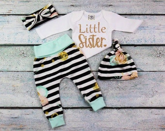 coming home outfit/baby girl/Little sister/little sister coming home outfit/organic cotton/matching big sister little sister outfits