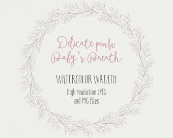 Watercolor floral wreath: soft, delicate Baby's Breath; hand painted; wedding resources; watercolor clipart - digital download