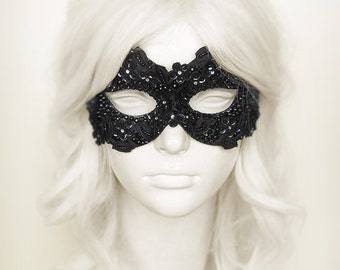 Sequined Black Masquerade Mask With Rhinestones And Embroidery - Embellished Venetian Style Mardi Gras Mask