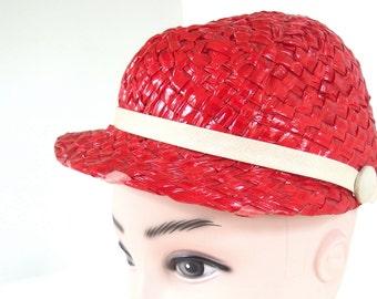 Vintage 1960's Red Straw Jockey Hat with Ivory Trim