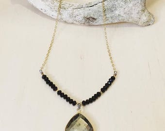 Pyrite and Onyx Beaded Necklace