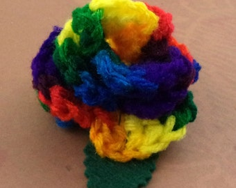 Crocheted Rose Hair Clip - Rainbow (SWG-HC-RB03)