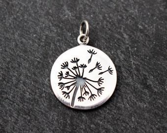 Sterling Silver Dandelion Charm, Pendant