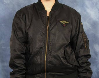 Vintage 80s 90s Black Bomber Jacket // Expressions // Silky Retro Zip Jacket