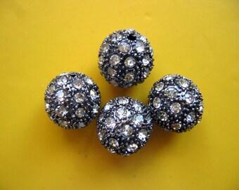 4 Pcs Large Dark Gunmetal Filigree Rhinestone Round Beads 14mm