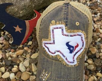 Texans Distressed Denim Trucker Hat/Trucker Hats/Texans