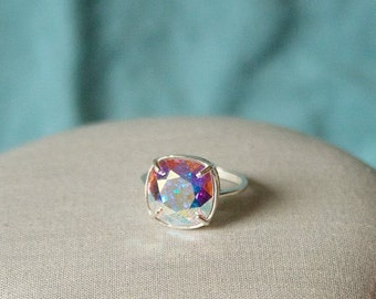 Handmade Swarovski Ring Swarovski Crystal AB Ring Crystal Ring Crystal Cushion Stone Ring Swarovski Aurora Borealis Ring