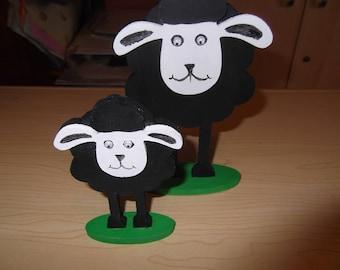3D Ewe and lamb set - wooden