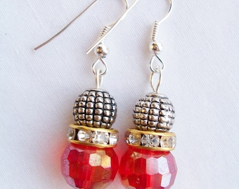 Red crystal and metal earrings - Swarovski banded earrings - red crystal earrings - red jewerly - metal beaded earrings - red gift