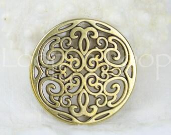 25%OFF Large Filigree Connector Round Pendant Antique Brass Black Patina 2 Holes Greek Mykonos Metal Casting European Zamac 31mm 1 pc BP33