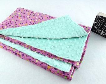 Minky Baby Blanket green-pink