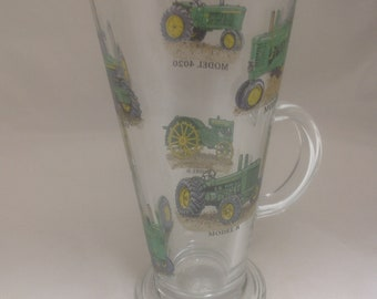 John Deere Tractor Designs on Large Toughned Lattee Glass