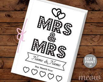 Mrs & Mrs Wedding Coloring Book Children's Activity Sheets Booklet Printable Personalize Kid's Pages Print at Home Color in EDITABLE Favor