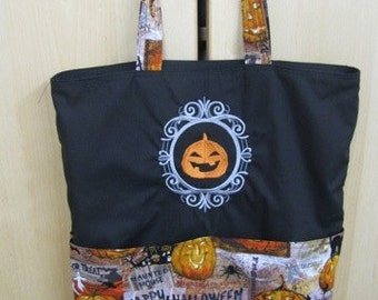 Halloween Cameo Embroidered Pumpkin Jack-o-Lantern Eco Tote Bag