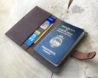 Passport case with business card tray-Brown