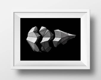 Shattered - Geometric - Dark&Light - Abstract - Objects - Crosshatching - Poster - Ink Drawing - Handmade - Art Print