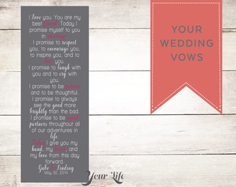Wedding Vows on Canvas,  Wedding Vow Art,  Custom Vows, Anniversary Gift, Wedding Gift, Valentines Day Vows - Display at your Wedding