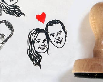 Personalized gift custom portraits stamp / wedding favor Save the date / couple / mr mrs handle / valentine's day gift invitation thank you