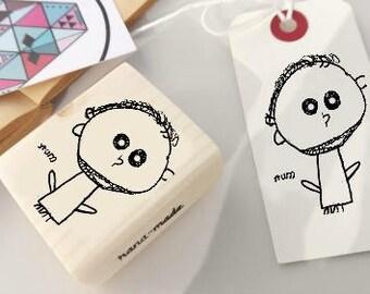 Custom Children Drawing Stamp, Custom Rubber Stamp, Children Drawing Ink Stamp  -1142080517-