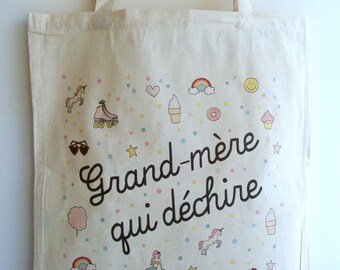 """Tote bag """"I am a grandmother who rocks"""" - day gift Grandma gift grandmother gift her Christmas gift"""
