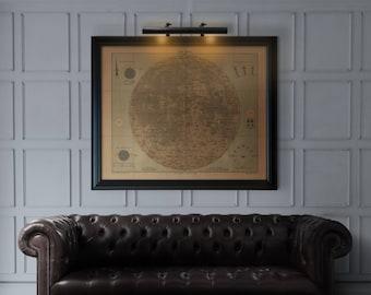 Lunar Map Print : Antique Lunar Map - Moon Map Art print poster 1910