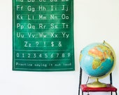 Alphabet print poster /chalkboard vintage style / Vintage alphabet school chart/ educational poster / fabric wall hanging/ back to school /