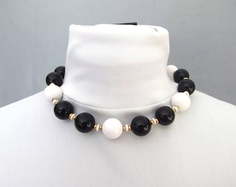 Vintage Monet Black and White Bead Choker / Princess Length Necklace