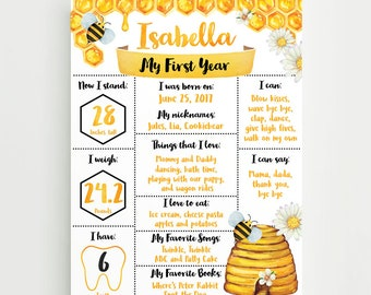Honey Bee First Birthday Poster, Bee Birthday Milestone Stats Poster, Bumble Bee Birthday Board, Digital File Printable Poster Prop