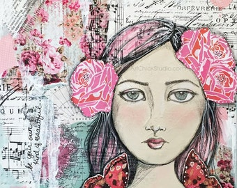 Be Your Own Kind of Beautiful Giclee Print 10x10 Mixed Media Girl