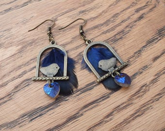 Bronze and blue bird earrings, blue feather earrings, blue heart earrings