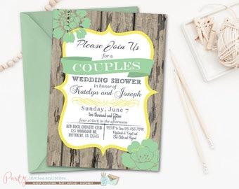 Couple's Wedding Shower Invitation, Couples Shower Invitation, Rustic, Wood, Co-ed Wedding Shower, DIY, Typography, Digital File