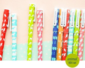 10% OFF Animals pens-- Set of 6pcs gel pens for DIY scrapbook, painting, drawing, writing, sign---2 Styles to choose