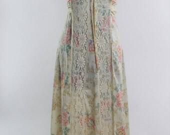 1960s Floral Lace Prairie Dress