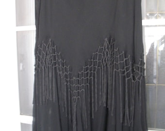 Black Partially Lined......Fringed..Ladies Skirt...Vintage....Made in India....Gorgeous!