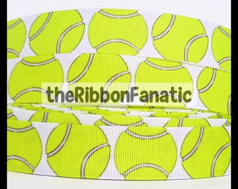 "5 yds 7/8""  Bright Yellow Tennis Balls Grosgrain Ribbon"