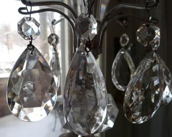 Vintage LARGE glass chandelier crystals- Set of 3 prisms
