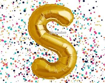 """Gold 40"""" Letter Balloon /""""S"""" Mylar Balloon / Metallic Gold Letter Balloons / Gold Number Balloon / Alphabet Letter Balloon / Custom Balloons"""