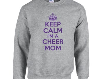 Keep Calm Im A Cheer Mom Crewneck.Glitter Crewneck Sweatshirt. Keep Calm Mom Sweatshirt. Proud Mom Crewneck.