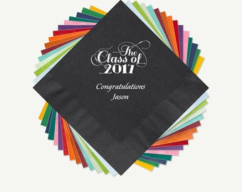 Graduation 2017 Party Beverage Napkins And Luncheon Napkins With Design, Class Of 2017 Napkin And Foil Color Options. See Thumbnail Images.