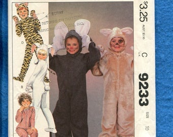 1980s McCalls 9233 Animal Costumes for Kids Pattern Size 10