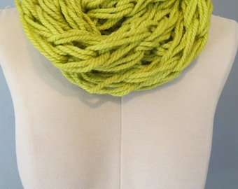 Lime Green Chunky Knit Infinity Scarf