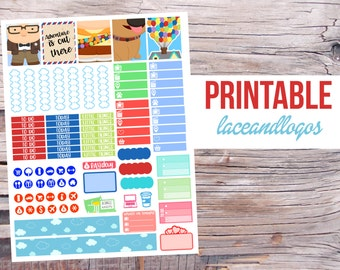 Printable Planner Stickers Adventure Is Out There for Erin Condren MAMBI Happy Planner GLam Planning Cartoon Cute Week Set PDF JPG Print